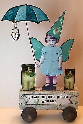Fairy Cats Umbrella LOVE Altered Art vtg Ooak Collage Handcrafted Mixed Media