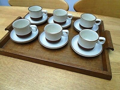 6 Vintage Denby Potters Wheel Rust Stoneware Cups And Saucers