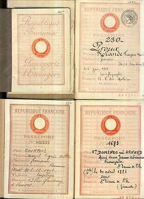FRANCE. 5 VF entire Passports of different tarifs, 1929-1943