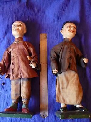 A pair of Vintage Chinese character Dolls, elder couple. Trad Dress, early 20C.