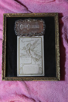Baby Coffin Plaque and Memorial Mourning Card 1904  Casket Plate