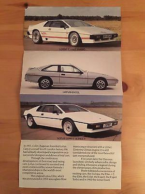 Lotus car brochure / gatefold, early 80s, Esprit / Excel