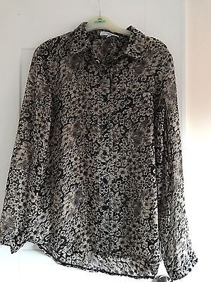 New Look Grey Floral Sheer Blouse Size 8