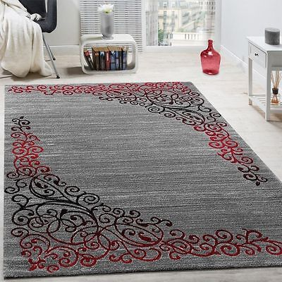 Small Extra Large Rug Grey Red Living Area Dining Room Bedroom Carpets Mats Red
