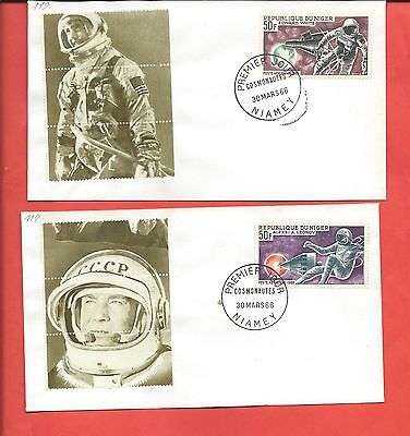 Niger stamps. 1966 Cosmonauts FDCs (Y335) Space