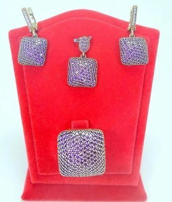 925 Sterling Silver Handmade Jewelry Pave Purple Amethyst Full Set