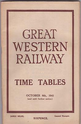 Great Western Railway Timetable Book Oct 1941