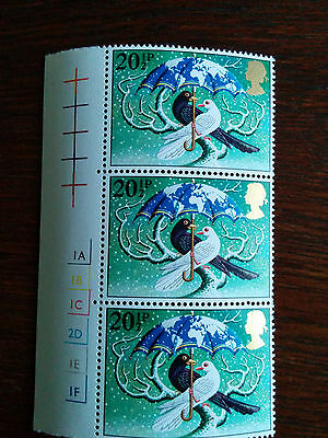 GB stamps block of 3 Christmas 1983 stamps mint and unmounted