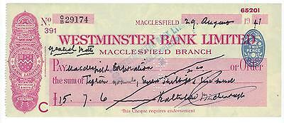 1941 Westminster Bank Limited -  Cheque