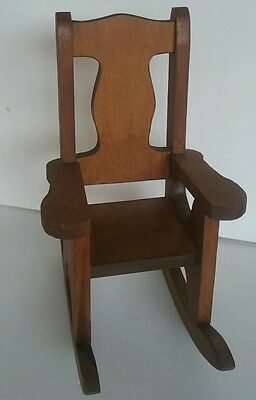 """Wooden 17"""" Vintage Doll Bear Rocking Chair"""