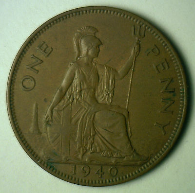 1940 Bronze One Pence UK One Penny Britain Coin XF