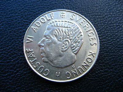 Sweden 2 Krona 1965 Silver Coin 40% Silver Coin Fine Condition