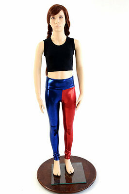 Kids Size 10 Blue & Red Harlequin Cosplay High Waist Leggings Ready to Ship!