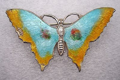 Gorgeous vintage Art Deco Silver Butterfly enamelled in yellow and blue