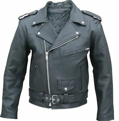 Mens Leather Biker Jacket Black Motorcycle with removable armour XXL