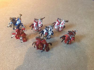schleich knights on horses .. 9 knights and 9 horses