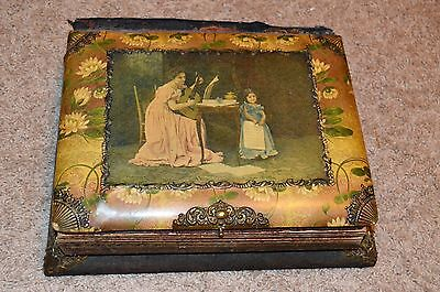Early 1900s Antique Celluloid PHOTO ALBUM music box FULL OF PHOTOS with names