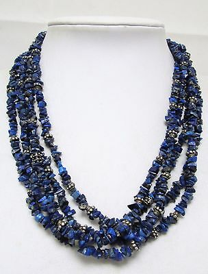 Stunning vintage sterling silver & 5 row lapis bead necklace