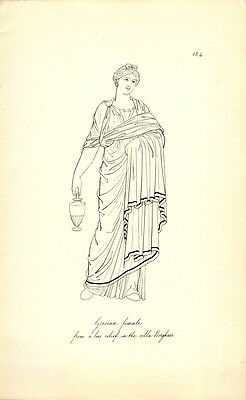 Grecian Female From Bas Relief In The Villa Borghese Greek Roman Engraving