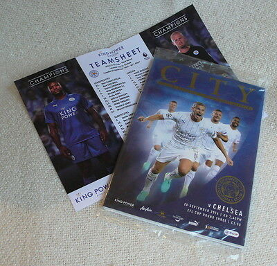 Leicester City football LCFC v Chelsea 2016 MINT programme, team sheet, poster