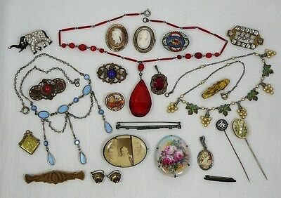 Lot Vtg Antique Jewelry Micro Mosaic Cameo Brooch Stick Pin Glass Necklace Coral