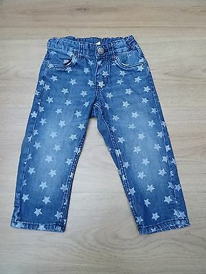 Baby Boys H&m Age 9-12 Months Star Print Jeans With Inside Adjustable Waist