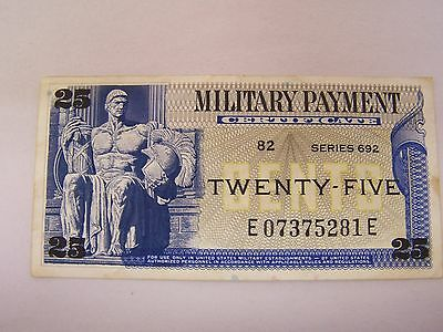 Military Payment Certificate 25 Cents Series 692