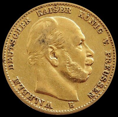 1877 B Gold Prussia German States 10 Mark Wilhelm I Coin Very Fine Condition
