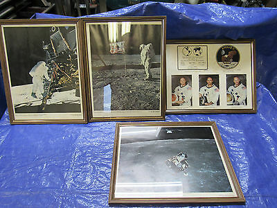 """4 VINTAGE 11"""" x 17"""" FRAMED PICTURES OF APOLLO 11 ASTRONAUTS & LUNOR MODULE"""