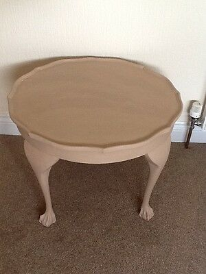 Round Painted Wooden Side Table. Shabby Chic