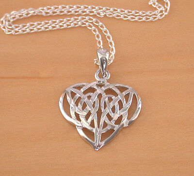 "925 Silver Celtic Heart Pendant&18""Silver Chain/Celtic Jewellery/Celtic Necklace"