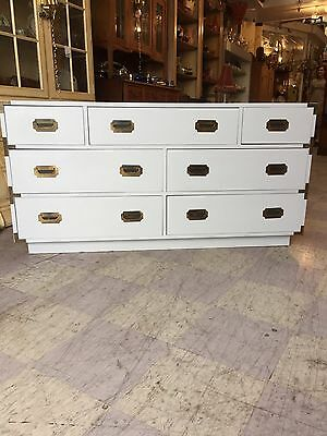 Vintage Mid Century Modern Campaign Dresser Chest Of Drawers Campaigner