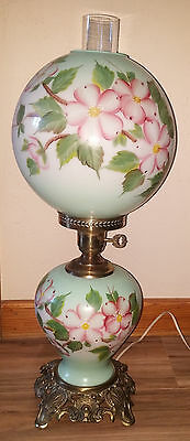 Vtg Hand Painted Green/Pink Dogwood Floral Gone with the Wind ElectricTable Lamp