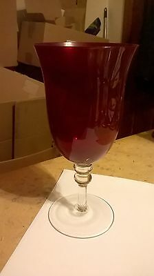 Oversized Balloon Ruby Red Wine Goblets Glasses With Clear Stem 9.5 inches