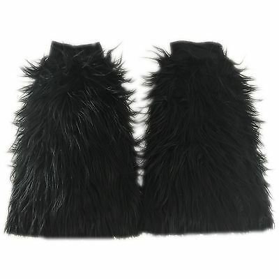 Black Fluffies Rave Furry Boot Cover Legwarmers Gogo Furries Dancer Long Fur