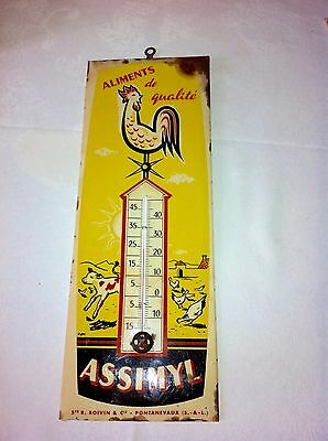 Ancien Thermomètre Glacoide - Assimyl Aliments Animaliers - Termoptic - 35 Cm