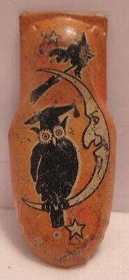 Old Miniature Tin Halloween Noisemaker Clicker Wise Owl Moon Witch on Broom