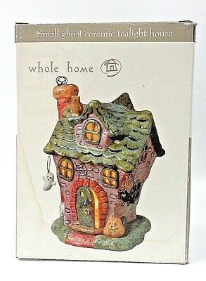 Ghost Ceramic Tealight House Haunted Candle Holder Halloween