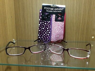 Twin Pack Of Foster Grant Fashion Reading Glasses With Cases + 2.50 Strength