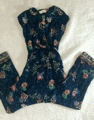 Zara Girls Romper Jumper Blue Floral Sz 9/10 Viscose