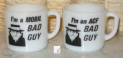 "2 Anchor Hocking Oven Proof ""i'm A Bad Guy"" Mobil & Acf Mugs Cups   #6"