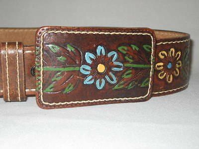 1960's-1970s Unique BELT & BUCKLE Hippy BOHO Tooled Leather Painted Floral