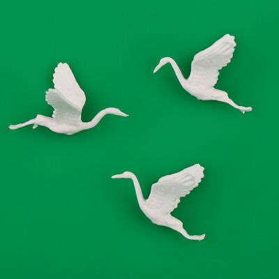 10pcs White plastic Birds Small figure Toy Red-crowned Crane 1:75 OO Scale Decor