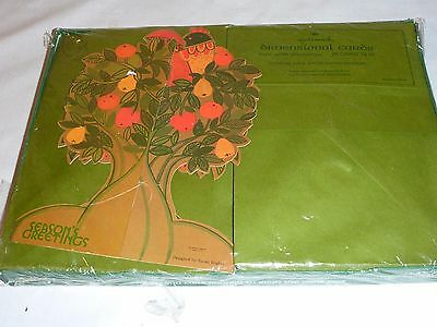 Vintage 70's New PKG Hallmark Dimensional Christmas Cards Partridge Pear Tree