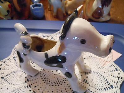 Vintage Black & White Cow Creamer With Fancy Tail!