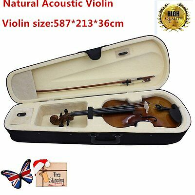 4/4 Full Size Natural Acoustic Wood Color Violin Fiddle with Case Bow Rosin @ BY