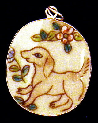 Ming/qing Dynasty Porcelain Pottery Shard Pendant Collectible~Large~Dog