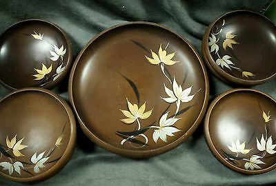 Wooden Dish Set made in Japan Set of 7