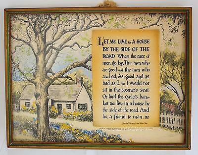 Vintage 1927 Buzza Motto Plaque- House By The Side Of The Road-Sam W Foss-Framed