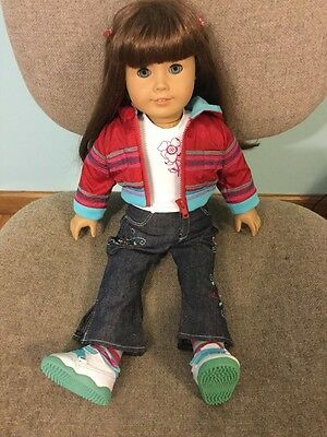 American Girl JLY 7 Light Brown Hair Blue Eyes In Ready For Fun Meet-Loose Legs